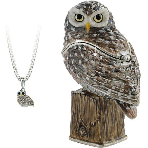 Little Owl Trinket Box and Necklace